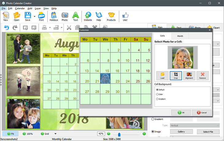 Personalize your printable calendar