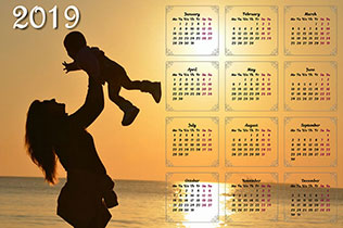 Wall calendar for one year