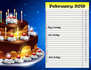 Birthday reminder calendar