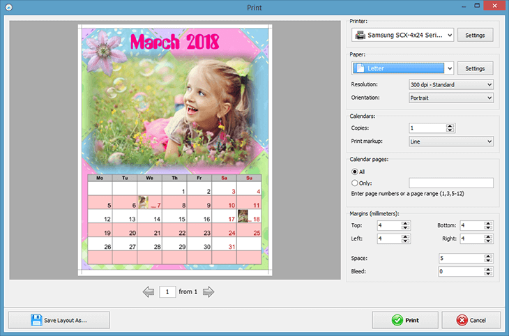 Print your birthday calendar