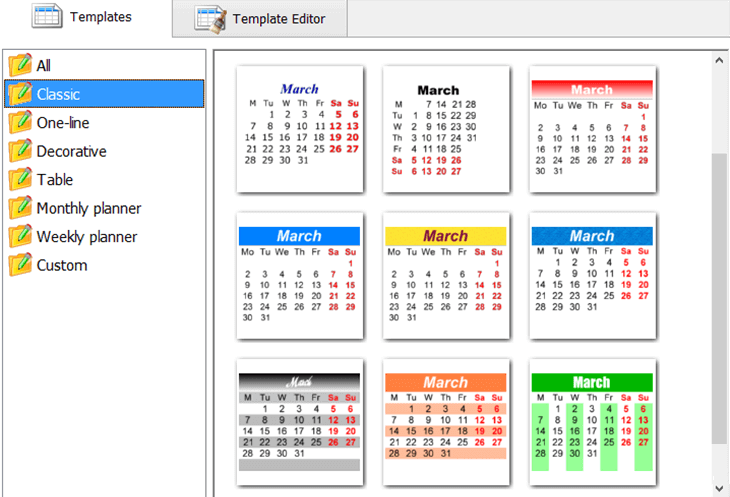 Edit the calendar month grid