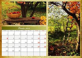 Horizontal monthly calendar example 4