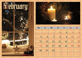 Horizontal monthly calendar example 2