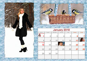 Horizontal monthly calendar example 5