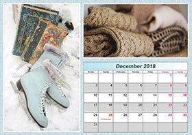 Horizontal monthly calendar example 7