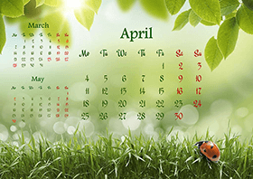 Horizontal monthly calendar example 8