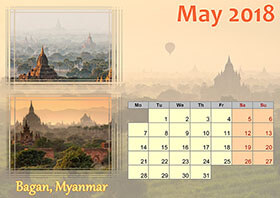 Horizontal monthly calendar example 3