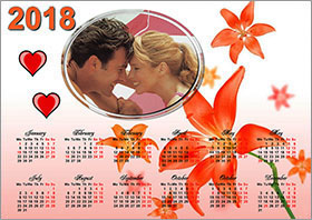Horizontal wall calendar example 1