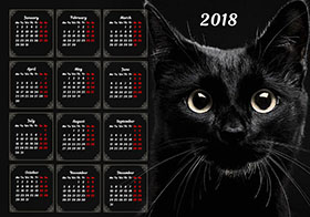 2018 horizontal yearly calendar example