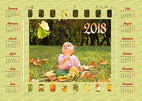 2018 horizontal yearly calendar example 4