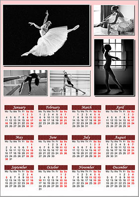Vertical wall calendar example 6