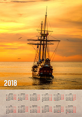 Vertical wall calendar example 3