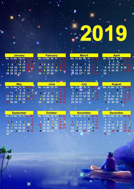 make 2019 lunar calendar with photo calendar creator