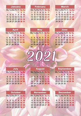 2021 pocket calendar example 2