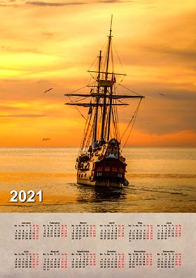 2021 vertical wall calendar example 3