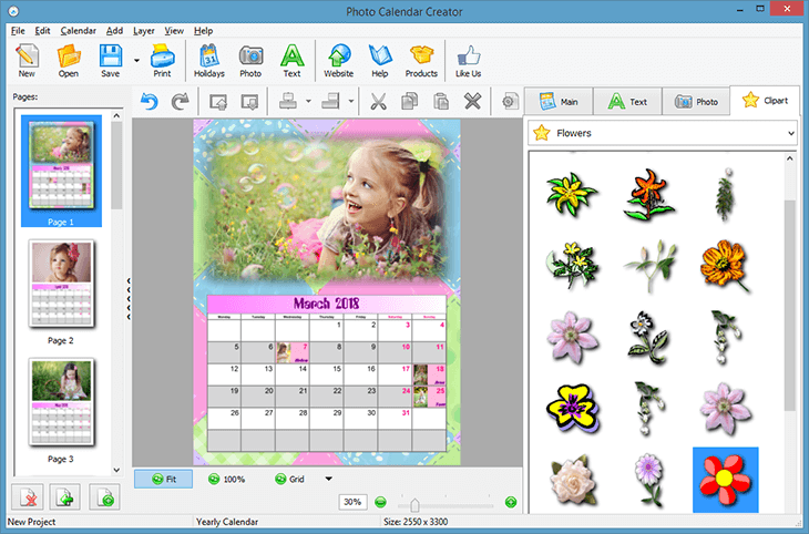 Decorate your photos in the birthday calendar