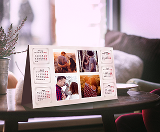 Personalized desk calendar with a photo collage