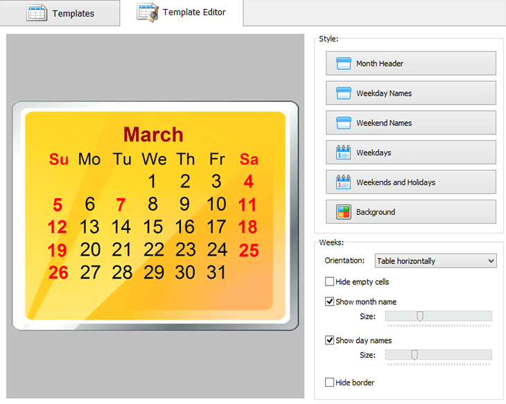 Customize the month style of your calendar