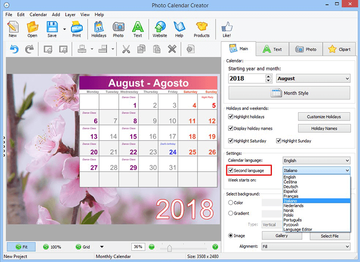 Create bilingual calendars