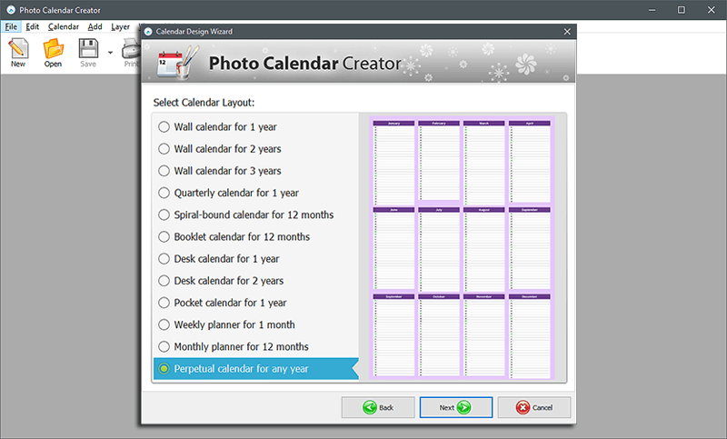 Choose a calendar template