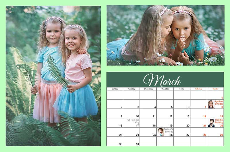 Create a Calendar with Photos 2019! Over 150 Templates to