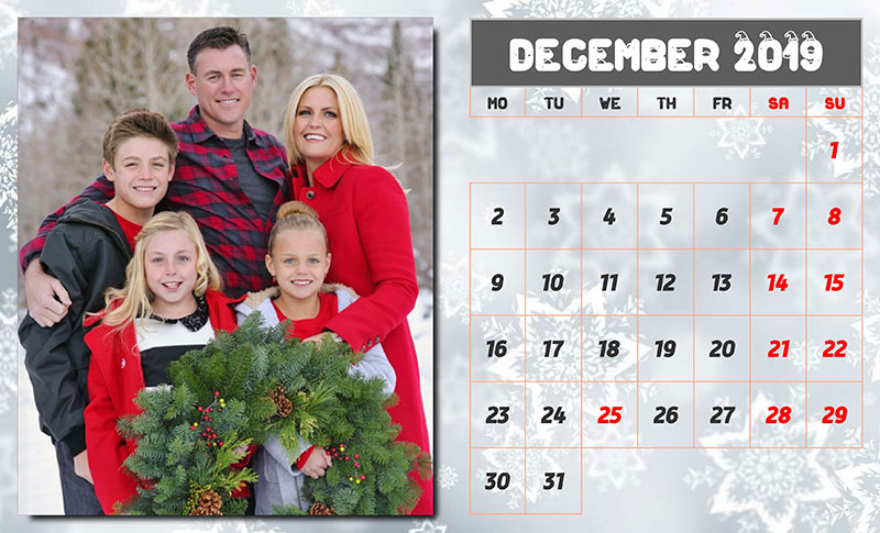 Photo calendar design example