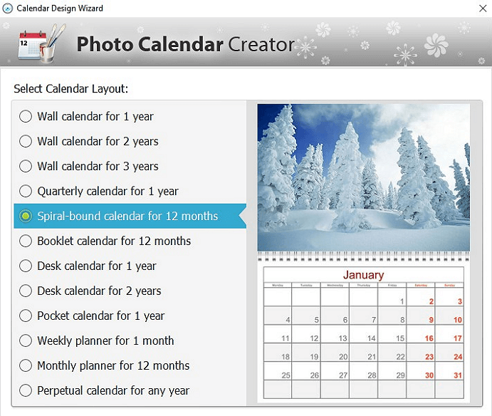 Collection of built-in calendar examples