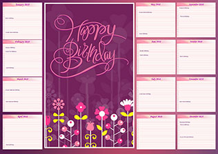 Wall poster birthday calendar