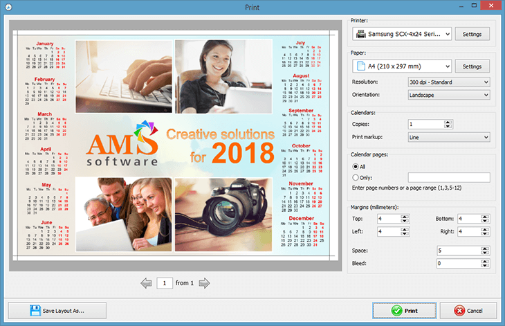 Print your calendar in high quality