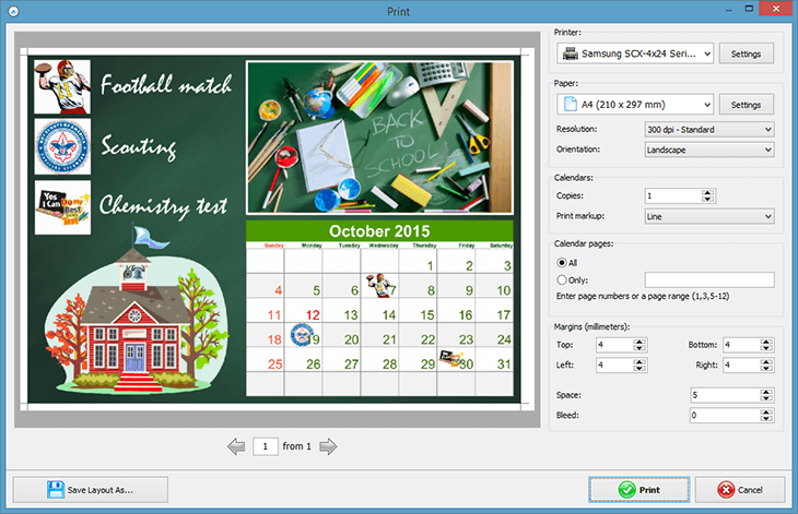 How to create a school calendar to print