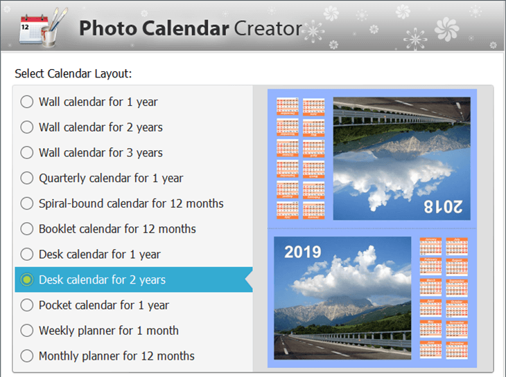 Choose a template for your printable calendar