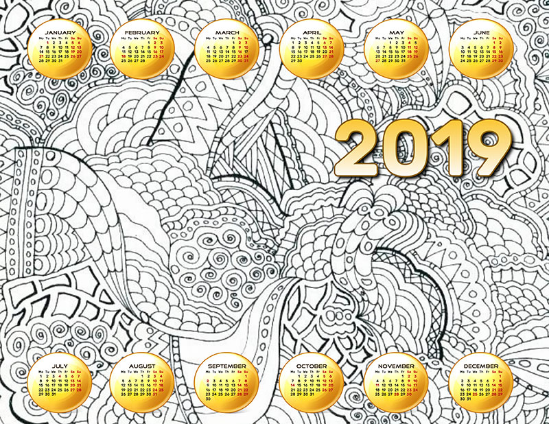 graphic relating to Printable Coloring Calendar named Printable Coloring Calendars for 2019 Free of charge JPEG Templates