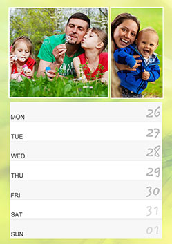 Family photo planner for a week
